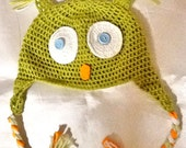 SALE---BABY OWL Hat -crochet handmade baby hat -animal hat -kids boho owl hat