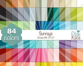 70% Sale Sunrays Digital Papers - Rainbow Sunburst Scrapbook Papers - Basic Color Papers - Huge Paper Pack - Instant Download