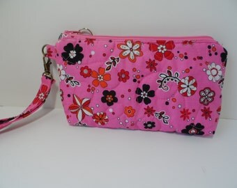 Quilted wristlet bright pink, small purse with zipper
