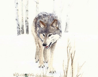 Assorted Wolf Note Cards Set of Four Watercolor Painting Reproductions