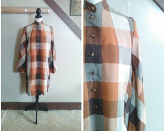 Chestnut Hill 1950s Brown and Beige/Autumnal Tone Plaid Patterned Lightweight Swing Coat