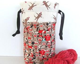 Drawstring Knitting Tote Bag, Baby Shower Gift Bag - Sock Monkeys Project Bag, Sock Knitting Bag