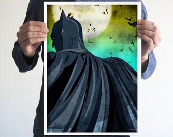 Batman cape,poster,comics,digital print,art,geek,superhero,dark knight,movie poster,men cave,home decor,moon
