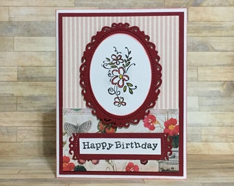 Birthday card, handmade card, greeting card, all occasion card, floral design