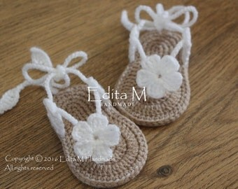 Crochet baby sandals, gladiator sandals, baby booties, shoes, baby slippers, flower sandals, gift for baby, baby shower gift, announcement