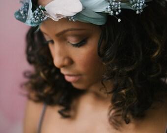 Stunning handmade feather flower bride/ bridesmaids crown ethereal wreath detail Laurel #02FC