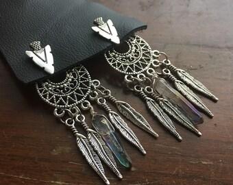 Dreamcatcher earring jackets / dreamcatcher ear jackets / boho earrings / dreamcatcher earrings / bohemian earrings / quartz point earrings