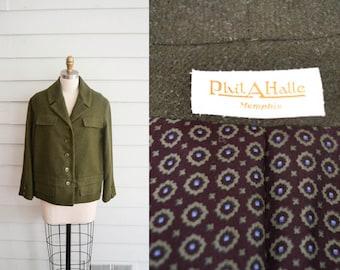 vintage 1950s or 1960s wool jacket / Small Medium Large vintage coat / cropped army green coat