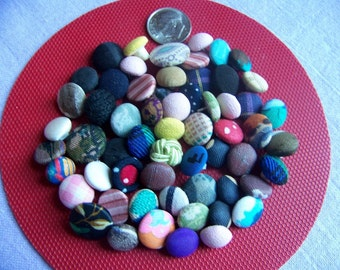 Lot of 60 Plus Small Vintage Fabric Covered Shank Buttons