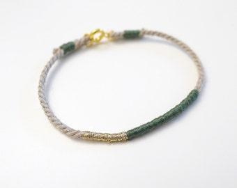 kaki green et gold color rope bracelet