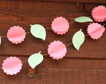 Flower Garland, Flower Decorations, Paper Garland, Paper Flower Decorations, Flower Bunting, 3D Peony Party Decorations, 10 feet long