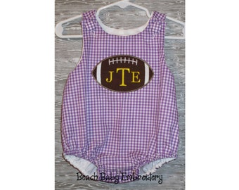 Football Monogrammed Jon Jon Shortall, Longall, or Baby Bubble Romper, Many Colors, Many Sizes, Made-to-Order Custom Boys Outfit