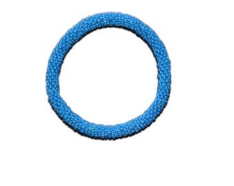 Neon Azure Blue Crocheted Beaded Bracelet, Made in Nepal, Handmade, Summer, Neon