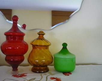 Set of 3 Vintage Glass Candy Jars, Decorative Jar, Collectible Glass, Instant Collection