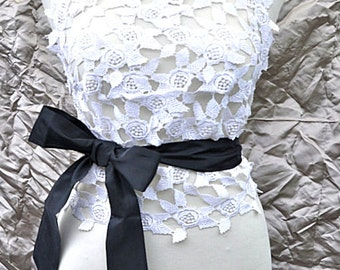 White Floral Italian Macramè Lace Halter Top with Black Taffeta Ties