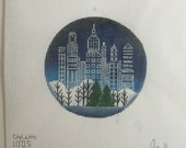 "Hand Painted Needlepoint canvas City Lights 4"" Ornament"