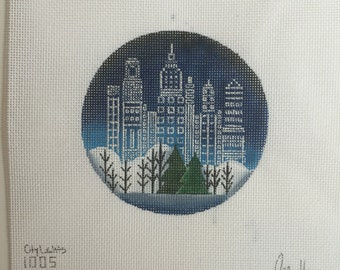 """Hand Painted Needlepoint canvas City Lights 4"""" Ornament"""