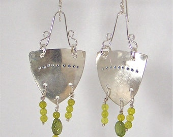 Silver Olympia Earrings with Peridot