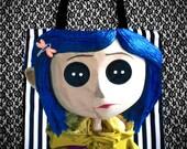 Button Eyes Zipper Tote Bag