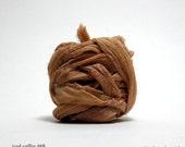 vintage sari silk ribbon - 10.5 feet, iced coffee (inv s-69)
