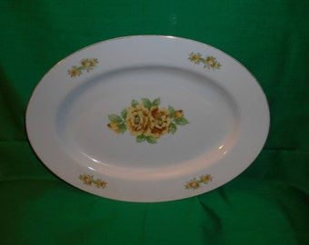 "One (1), 12"" Oval Porcelain Platter, from Hadson China, of Occupied Japan, in the HSN 2 Pattern."