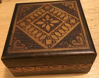 Wooden Hand Carved Trinket Box - Poland