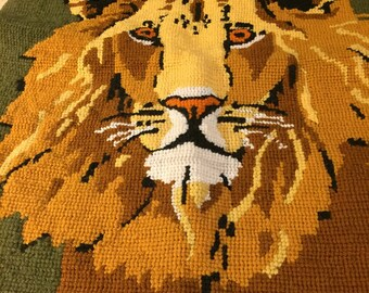 Lion Head Needlepoint