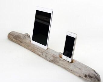 Docking Station, iPad Mini docking station, iPhone Charger, iPhone docking Station, iPad mini dock, wood iPhone dock/ Driftwood- No. 885