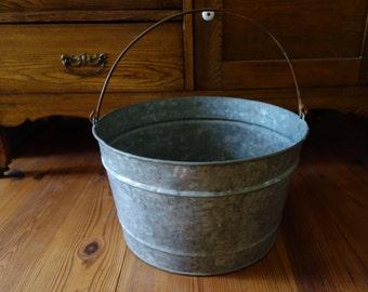 Vintage Bucket, Galvanized Metal, Gardening, Water Bucket, Garden Decor, Rustic, Farmhouse, Metal Pail, Home Decor, Large, Metal Buckets