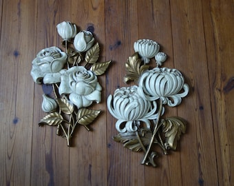 Vintage Wall Plaques, Mid Century, Homco Wall Plaques, Flowers, Wall Decor, Off White and Gold, Home Decor, Set of Two, Rose, Chrysanthemum