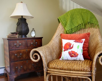 Red Poppy Pillow Cover, Country Cottage Flower Throw Pillow, Red Poppy Fabric 14x14 Pillow Cover, Red Flower Fabric French Country Decor