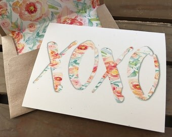 XOXO - Peach Floral Print - Note Card - Recycled - Eco Friendly