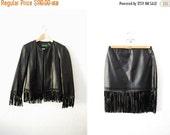 SALE Vintage 90s FRINGE Tassel Black Leather Jacket and Skirt Set Boho Hippie / Womens Clothing / 2pc Set / Mini Skirt / Coat Blazer