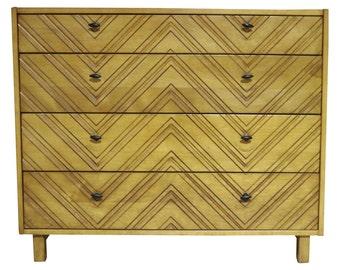 Four-Drawer Carved Front Chevron Dresser Chest