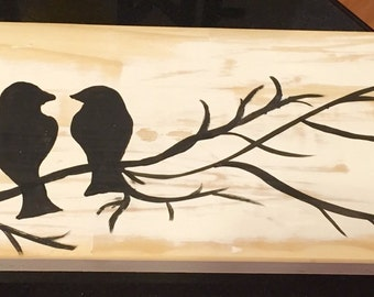 Hand painted reclaimed wood love birds