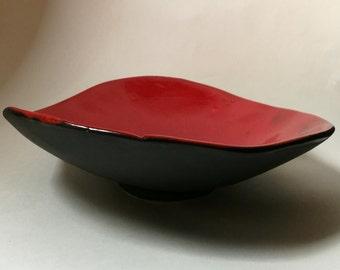 Large red and Black ceramic bowl // Ornamental Bowl // Handmade bowl