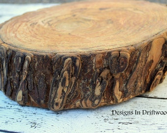 Large Rustic Cake Plate - Hardwood Wood Slice with Bark  approx. 10 x 3 Inch thick - Great for Crafts - Cake Plate - Weddings - Reunions