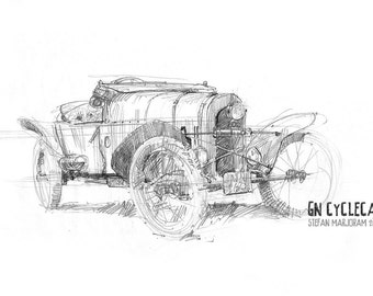 GN Cyclecar - Original A4 Pencil Sketch
