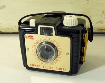 Vintage Kodak Brownie Bullet Camera with Black Bakelite Case