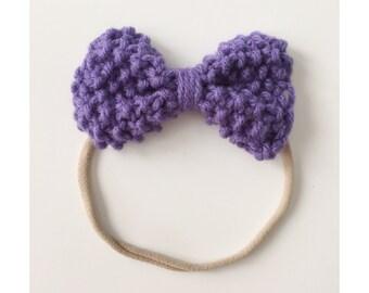 Knit Bow on Elastic band for Babies, Purple Knit Bow Headband,  Bow Baby Head Band, Newborn Knit Headband