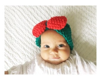 Baby Knit Bow Headband in Green Teal with Red Bow, Baby Headband