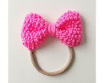 Knit Bow on Elastic band for Babies, Neon Pink Knit Bow Headband, Hot Pink Bow Baby Head Band, Newborn Knit Headband