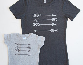 Little Girls Mommy and Me Stacked Arrows Set-Charcoal and Gray