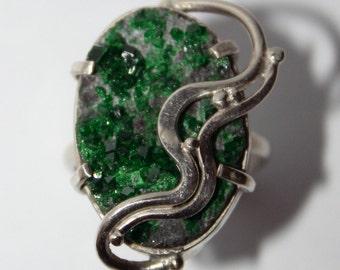 Uvarovite Ring, Green Garnet Ring, Uvarovite Drusy,  9 size, FREE SHIPPING
