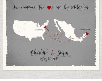 Custom Wedding Print Destination Wedding Gift  Memento Marriage Couple print alternative Signature Guest Books USA Mexico Map Signature Map