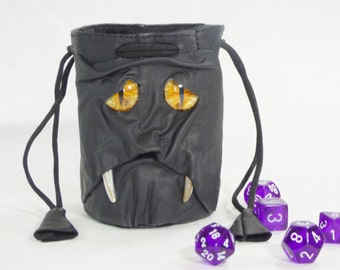 Leather Dice Marble Bag Fairy Pouch With Face RPG LARP Drawstring Black Rune Gamer Bag