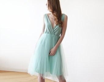 Mint midi tulle dress, Open back bridesmaids short mint tulle dress 1128