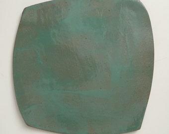 Glossy seafoam glaze plate, free form shape