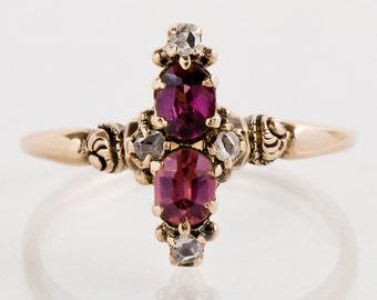 Antique Ring - Antique Victorian 14k Rose Gold Garnet and Diamond Navette Ring