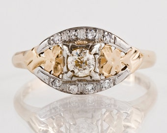 Antique Engagement Ring - Antique 1930s 14k & 18k Rose and White Gold Diamond Engagement Ring